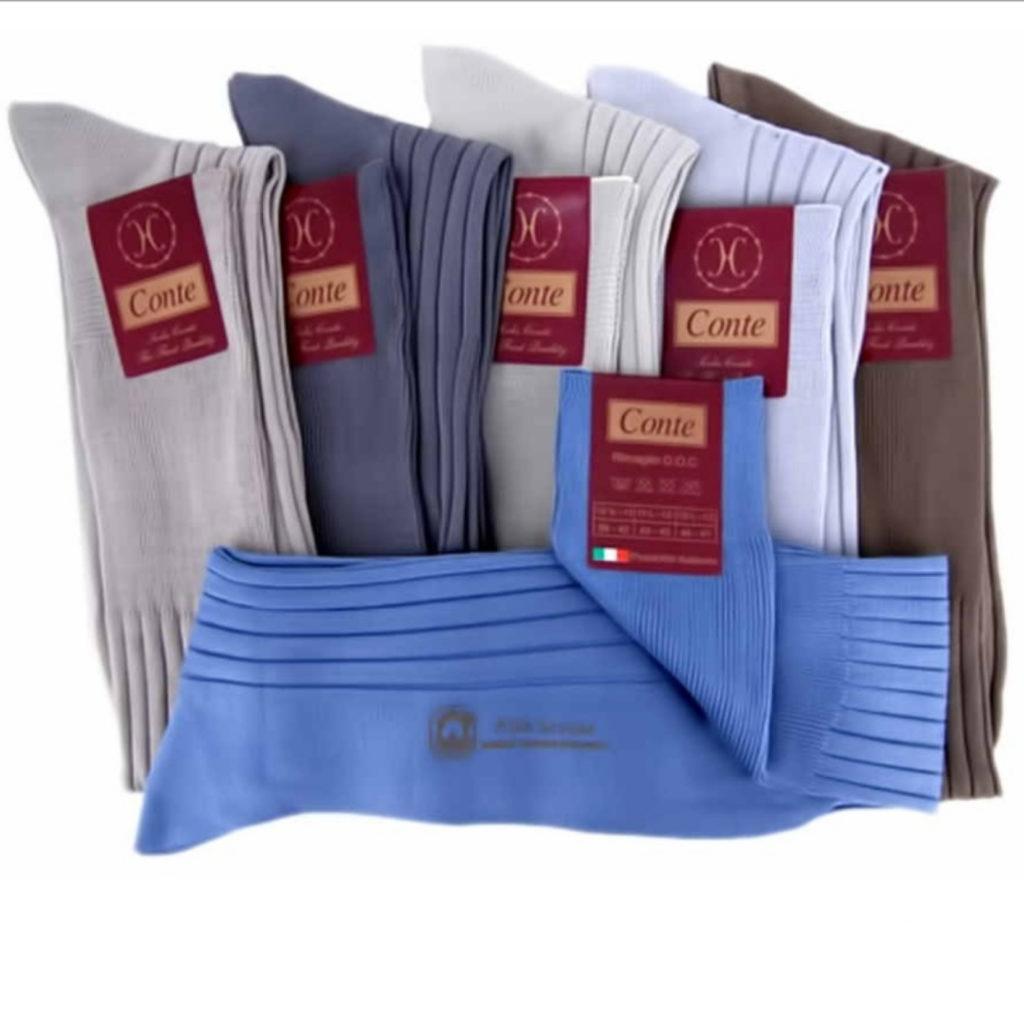 Calza made in Italy in filo di scozia maglia costina pastello