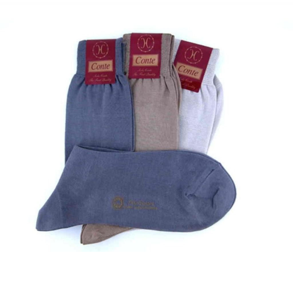 Calza made in Italy in filo di scozia maglia rasa pastello corto