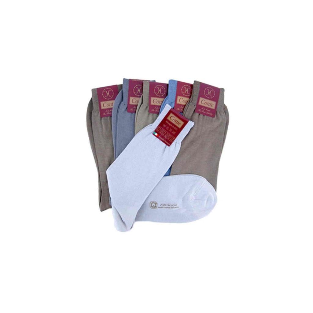 Calza made in Italy in filo di scozia maglia rasa colori pastello